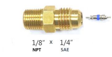 Raccord droit MM avec schrader 1/8''NPT X 1/4'' flare