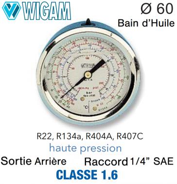 Manomètre avec Bain d'Huile R134A - R404A, R22 - R407C HP