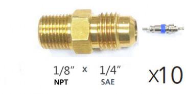 Lot de 10 x Raccords droit MM avec schrader 1/8''NPT X 1/4'' flare