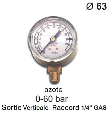 Manomètre pour détendeur - Azote - 0 à 40 / 60 bar