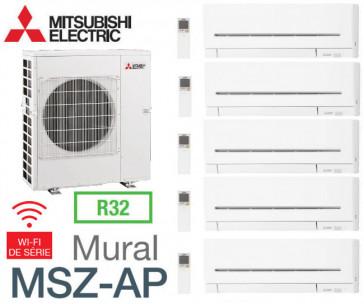 Mitsubishi 5-split Mural Compact MXZ-6F122VF + 3 MSZ-AP20VGK + 1 MSZ-AP35VGK + 1 MSZ-AP42VGK - R32