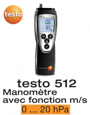 Testo 512 - Appareil de mesure de la pression différentielle, 0...20 hPa