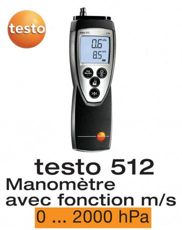 Testo 512 - Appareil de mesure de la pression différentielle, 0...2000 hPa