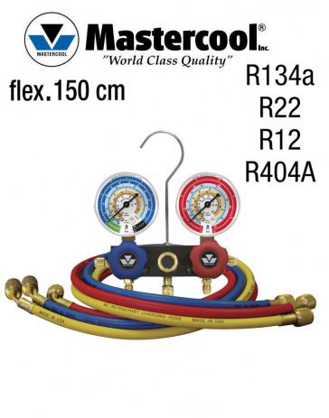 Manifold à voyant - 2 Vannes, Mastercool R134a, R22, R12, R404A, flexible 150 cm