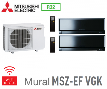 Mitsubishi Bi-split Mural Inverter Design MXZ-2F53VF + 2 MSZ-EF25VGKB