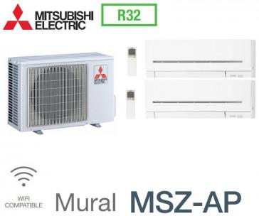 Mitsubishi Bi-split Mural Compact MXZ-2F42VF + 2 MSZ-AP20VG - R32
