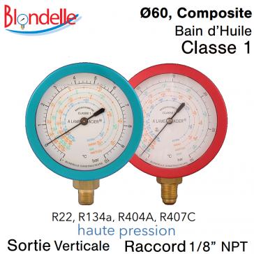 Manomètre de remplacement HP - R134A - R404A - R22 - R407C de Blondelle