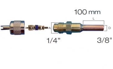 "Raccord droit valve schrader avec embout cuivre 3/8"""