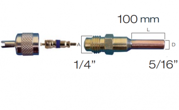 "Raccord droit valve schrader avec embout cuivre 5/16"""
