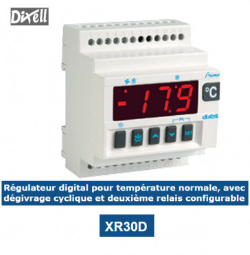 Régulateur digital pour TN avec dégivrage par arrêt du compresseur et relais additionnel configurable XR30D de Dixell