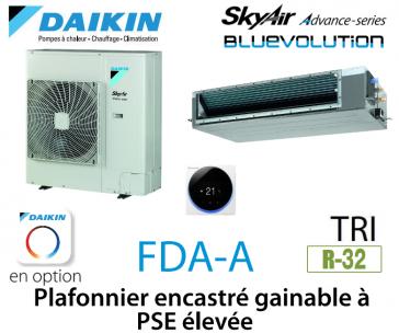 Daikin Plafonnier encastré gainable à PSE élevée Advance FDA125A triphasé