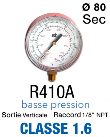 Manomètre BP pour R410A