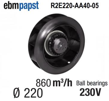 Ventilateur centrifuge EBM-PAPST - R2E220-AA40-05 - en 230 V