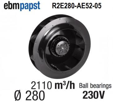 Ventilateur centrifuge EBM-PAPST - R2E280-AE52-05 - en 230 V