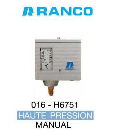 """Pressostat simple manuel HP de marque """"Ranco"""" O16-6751"""