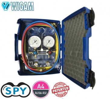Coffret manomètre à 4 voies SPY R410A-R32 avec jeu de flexibles