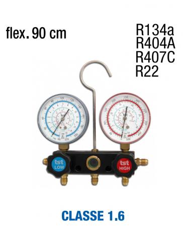 Manifold R407C, R404A, R134A, R22 avec jeux de flexibles
