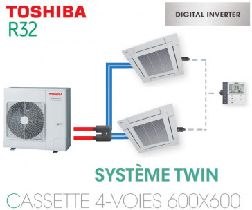 Ensemble Twin Toshiba Cassettes 4-voies 600 x 600 DI R32 monophasé