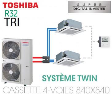 Ensemble Twin Toshiba Cassettes 4-voies 840 x 840 SDI R32 triphasé