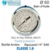 Manomètre avec Bain d'Huile R134a - R404A - R22 - R407C HP