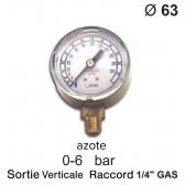Manomètre pour détendeur - Azote - 0 à 6 bar