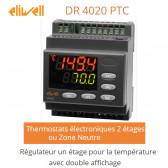 Régulateur deux étages pour la température, avec double affichage DR 4020 PTC de Eliwell