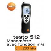 Testo 512 - Appareil de mesure de la pression différentielle, 0...200 hPa