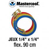 """Jeux de flexibles 90 Cm avec vanne d'arrêt manuelle 1/4"""" SAE Mastercool"""