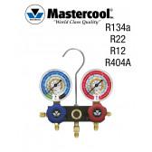 Manifold à voyant - 2 Vannes, Mastercool R134a, R22, R12, R404A sans flexible