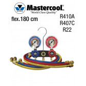 Manifold à voyant - 2 Vannes, Mastercool R410A, R407C et R22, flexible 180 cm