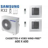 Samsung Cassette 4 voies 600x600 Wind-Free Bi-Split AJ068TXJ3KG + 2 AJ035TNNDKG