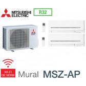 Mitsubishi Bi-split Mural Compact MXZ-2F33VF + 1 MSZ-AP15VGK + MSZ-AP20VGK - R32