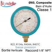 Manomètre de remplacement BP - R134A - R404A - R22 - R407C de Blondelle
