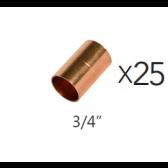 """Lot de 25 Manchon en cuivre 3/4"""""""