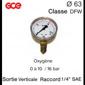 Manomètre GCE pour Oxygène