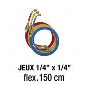 """Jeux de flexibles 1/4"""" x 1/4""""- 150 Cm avec vanne"""