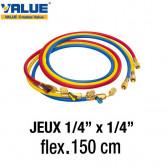 """Jeux de flexibles 150 cm avec vanne 1/4"""" SAE de Value"""