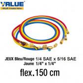 Jeux de flexibles 150 cm avec vanne R410a de Value