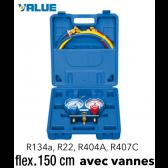 Coffret manomètre 2 voies avec voyant et flexible R134A - R404A - R22 - R407C - 150 cm