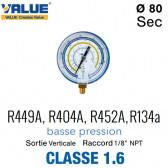 Manomètre BP R449A, R404A, R452A, R134a
