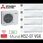 Mitsubishi Quadri-split Mural Inverter Design MXZ-4F80VF + 3 MSZ-EF22VGKW + 1 MSZ-EF42VGKW