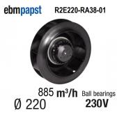 Ventilateur centrifuge EBM-PAPST - R2E220-RA38-01 - en 230 V