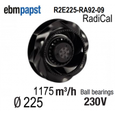 Ventilateur centrifuge EBM-PAPST - R2E225-RA92-09 - en 230 V
