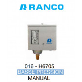 "Pressostat simple manuel BP de marque ""Ranco"" O16-6705"