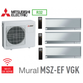 Mitsubishi Tri-split Mural Inverter Design MXZ-4F72VF + 2 MSZ-EF22VGKS + 1 MSZ-EF42VGKS