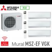 Mitsubishi Tri-split Mural Inverter Design MXZ-3F54VF + 3 MSZ-EF22VGKW