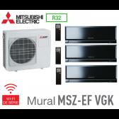 Mitsubishi Tri-split Mural Inverter Design MXZ-4F72VF + 2 MSZ-EF22VGKB + 1 MSZ-EF42VGKB