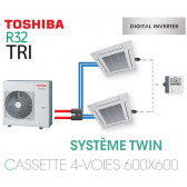 Ensemble Twin Toshiba Cassettes 4-voies 600 x 600 DI R32 triphasé