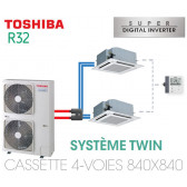Ensemble Twin Toshiba Cassettes 4-voies 840 x 840 SDI R32 monophasé