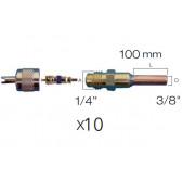 """Lot de 10 x Raccords droit valve schrader avec embout cuivre 3/8"""""""